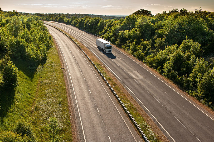 Insurance Quote - Truck Driving on Rural Highway