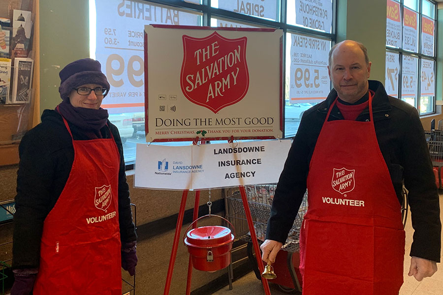 About Our Agency - View of Two Lansdowne Insurance Team Members Volunterring for The Salvation Army